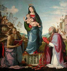 мариотто альбертинелли (1474 -1515) поклонение младенцу христу, (холст, масло, темпера). флорентийская школа