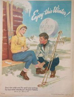 BAYER ASPRIN AD 1955 original retro vintage AUSTRALIAN bathroom advertising