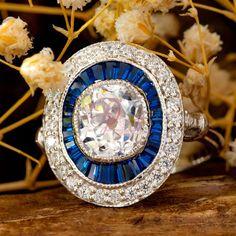 Art Deco Old Mine Cut Woman's Trendy Ring - Woman's Fancy Blue Diamond Ring- handmade Jewellery- Edwardian Ring- Unique Vintage Ring Edwardian Ring, Edwardian Fashion, Unique Rings, Vintage Rings, Handmade Jewelry, Art Deco, Fancy, Diamond, Women