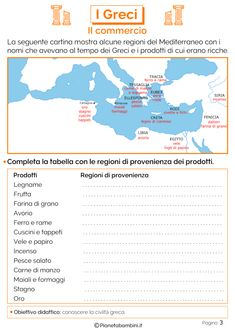 Il commercio dei greci Dere, Problem Solving, Activities For Kids, Teaching, Map, Education, School, Google, Geography