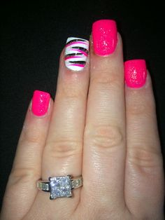 Pink Zebra Nail Designs Korean - hot pink and zebra with a little sparkle! Pink Zebra Nails, Pink Gel Nails, Best Acrylic Nails, Toe Nails, Gel Nail Art, Pink Summer Nails, Pink Pedicure, Zebra Nail Designs, Pedicure Designs