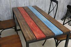 Resultado de imagen para mesa de estructural Table, Furniture, Home Decor, Dining Tables, Wooden Tables, Farmhouse Table, Bed Feet, Iron, Interior Design