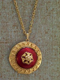 Ornate Vintage Goldtone Faux Pearl Guilloche Enamel by LoveLockets, $30.00