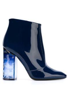 Nicholas Kirkwood Navy patent high heel bootie