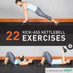 22 Kick-Ass Kettlebell Exercises — These exercises will have you sweating in no time and take your workout to the next level. Crossfit Kettlebell, Kettlebell Workouts For Women, Kettlebell Routines, Full Body Kettlebell Workout, Kettlebell Challenge, Lose Fat Workout, Kettlebell Training, Killer Workouts, Strength Workout