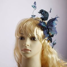Purple fascinator Flower girl crown Butterfly hair jewelry Fascinator derby Forest fairy Headpiece princess Ultra violet Woodland wedding