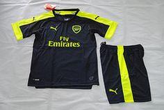 Premier League 16/17 Arsenal third kids kit.OZIL ALEXIS soccer jersey