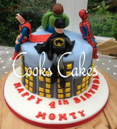 Birthday cake for a 4 year old boy. Superheros Batman Spiderman Superman Hulk