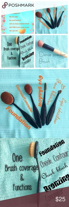 Brand NEW OVAL BRUSH SET & one DENSE POWDER BRUSH 4pc oval brush set  BRAND NEW, NEVER USED. ALL PIX URS As Oprah would say these are some of my favorite things :)) these 4 brushes (pix#2) are in my every day use & I 💗them & I hope U'll 💗 them too! Big oval - foundation Med. oval- Contor or concealer Narrow oval - eyeshadow Tiny oval- Face blender or eyeshadow ➕ U'll get another oval brush, making it a 5pc Oval brush set!!! ➕ I'm throwing in a NEW Pro Concealer Dense Powder Brush👍🏼 HAPPY…
