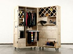 inspiration, add clever compartments + mirror to an old lg. ideal for closet-less digs; 'The Crates' by; Naihan Le, concealable & mobile wardrobe/closet, featured at Beijing Design Week 2013 Crate Furniture, Design Furniture, Home Furniture, Nomadic Furniture, Folding Furniture, Multifunctional Furniture, Modular Furniture, Cabinet Furniture, Portable Closet