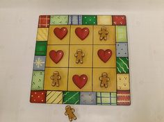 Gingerbread Man Wood Tic Tac Toe Game Board by TheLaughingCabin