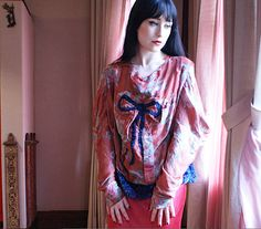 CLARA BOW top blouse Metallic Red Floral Crepe by BoudoirQueen