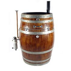 Hand-crafted meat smoker made from a retired and repurposed French white oak wine barrel. This truly unique meat smoker can do both hot and cold meat smoking. Excellent for cold smoking fish and chees