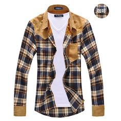 2017 new arrival men's vintage plaid long sleeve splicing patch shirts for men high quality cotton shirts  MCL090