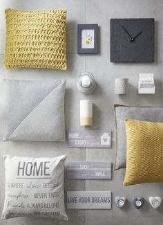 A warm and perfectly contrasting palette - grey and yellow is on trend this season. Mix and match textures.