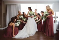 Rustic-Chic Inspired Convertible Bridesmaids Dresses by Jenny Yoo Collection. This beautiful bridal party was seen wearing Jenny Yoo Luxe Chiffon Mira Bridesmaid dresses in one of Fall's favorite colors, Cinnamon Rose!