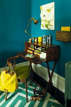 blue walls with yellow and wood accents