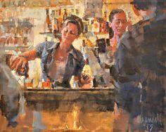 """""""Pouring Drinks, Caffè del Mercato"""", oil on canvas, 16"""" X 20"""""""