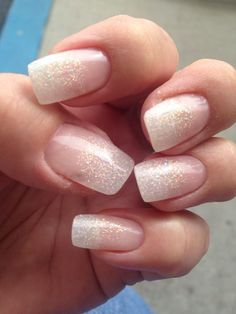 french nails step by step Long Hair French Nails, Glitter French Manicure, French Acrylic Nails, Sparkle Nails, Cute Acrylic Nails, Glitter Nails, Cute Nails, Pretty Nails, Gel Nails