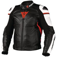 Dainese Avro Leather Jacket. Black/White/Red - Front