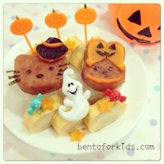 Hello Kitty and My Melody Halloween Themed Spam Musubi Bento - Bento For Kids