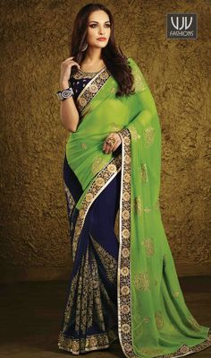 Invaluable Net  Green And Blue Designer Party Wear Saree