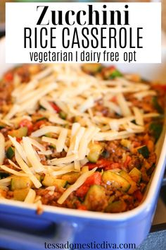 Veggie loaded rice and vegetable casserole is easily made with some ground sausage for a full meal! Great for feeding a crowd or bringing to share at a potluck!