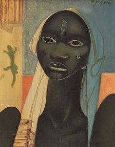 "amare-habeo: "" Floris Jespers (Belgian, 1889 - Young Woman Luba, Kamina, N/D Oil on canvas "" African American Art, African Art, Daddy, First Art, Tribal Art, Black Art, Figurative Art, Word Art, Creative Art"