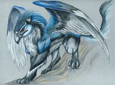 Azo, the Blue Gryphon -- 1999 by caramitten.deviantart.com on @deviantART