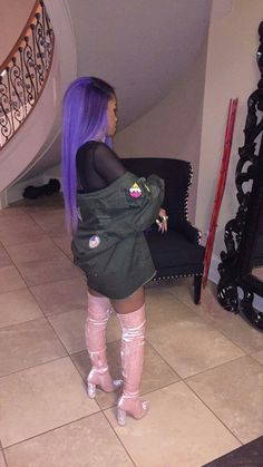 """ I apologize if I got you hype "" 💖 Dope Fashion, Fashion Killa, Womens Fashion, Street Fashion, Dope Outfits, Outfit Goals, Purple Hair, Black Is Beautiful, Swagg"