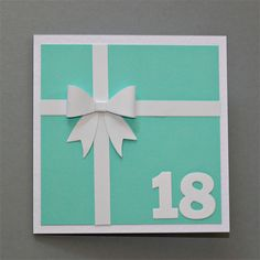 18th Birthday Card - Teal Present with White Bow