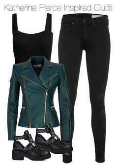A fashion look from August 2015 by nathj featuring Balmain, rag & bone, tvd and KatherinePierce Fall Outfits, Casual Outfits, Cute Outfits, Fashion Outfits, Girly Outfits, Katherine Pierce Outfits, Only Fashion, Womens Fashion, Vampire Diaries Outfits
