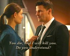 """Marriage is starting to look good on you.""That's what Seeley Booth (David Boreanaz) says to Temperance Brennan (Emily Deschanel) in the Season 8 finale of Fox'. Best Tv Shows, Best Shows Ever, Favorite Tv Shows, Movies And Tv Shows, Favorite Things, Bones Tv Series, Bones Tv Show, Booth And Bones, Booth And Brennan"