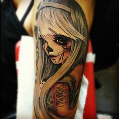 This is the tattoo I plan on getting as a half sleeve. Changing her hair to dark putting a rose in her hair and the tattoo on her arm will be a skull. It's a tattoo that will represent me,  and my parents. Can't wait