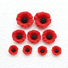 Chic Resin Poppy Flower Cabochon Flat Back Artificial Red Flower Beads Miniature Poppy Flower Jewelry Accessory Home Decor Knitted Poppy Free Pattern, Knitted Flower Pattern, Knitted Poppies, Knitted Flowers, Beaded Flowers, Fabric Flowers, Poppy Flowers, Knitting Stiches, Knitting Patterns Free