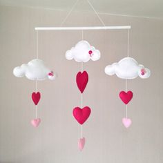 Girls Baby Mobile - Crib Mobile - Cot Mobile - Clouds and Hearts
