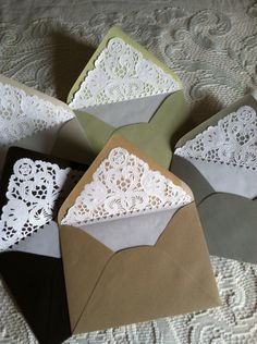 Lace Lined Envelopes / Paper Doily Envelope Liners. $8.00 for 10, via Etsy.