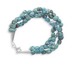 "7.5"" Triple Strand Turquoise Nugget Bracelet"