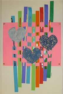 valentines paper weaving. Painted paper. Could also tie in printmaking