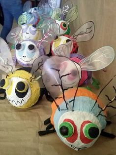 And a good use for all of the leftover fairy wings I have. Craft Activities For Kids, Crafts For Kids, Arts And Crafts, Origami, Paper Mache Crafts, Bug Crafts, Sculpture Projects, School Art Projects, Spring Art