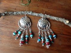 Hammered silver chandelier earrings with dark red and turquoise crystals and silver beads by CrowsFeetStudio on Etsy