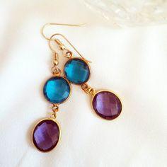 Blue topaz and amethyst drop earrings by IrkaDesign on Etsy