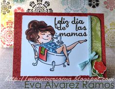 Tarjeta diseñada para el día de las madres dentro de una serie de tarjetas. Sello coloreado con Copic.