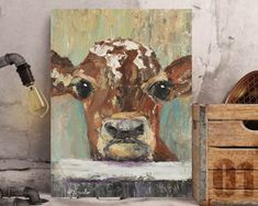 """Sweet Cow Calf Cow Close Up ORIGINAL Painting acrylic heavy palette knife texture barn animal wall art """"George"""" by Donna Ceraulo Sweet Cow, Original Artwork, Original Paintings, Close Up Faces, Barn Animals, Palette Knife Painting, Acrylic Wall Art, Figure Painting, Pet Birds"""