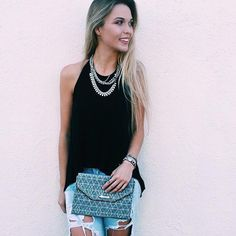 How cute is @colvinmariah in the City Slim Clutch and Sutton Necklace #stelladotstyle| Stella & Dot