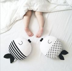 Nordic Style Polka Dot + Striped Kiss-Kiss Fishies Cotton Pillow & Stuffed Plush Toy - Children's Room Decor