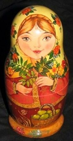 Matryoshka (Russian nesting doll) with a basket of green apples. #Russia #folk…