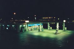 gas station night