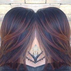 Amber/copper/red/auburn ombré weave with balayage on black hair