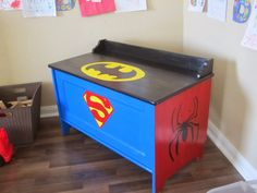 SUPERHERO Toy Box. I'm painting this for my son one day! Or a princess version for a girl!